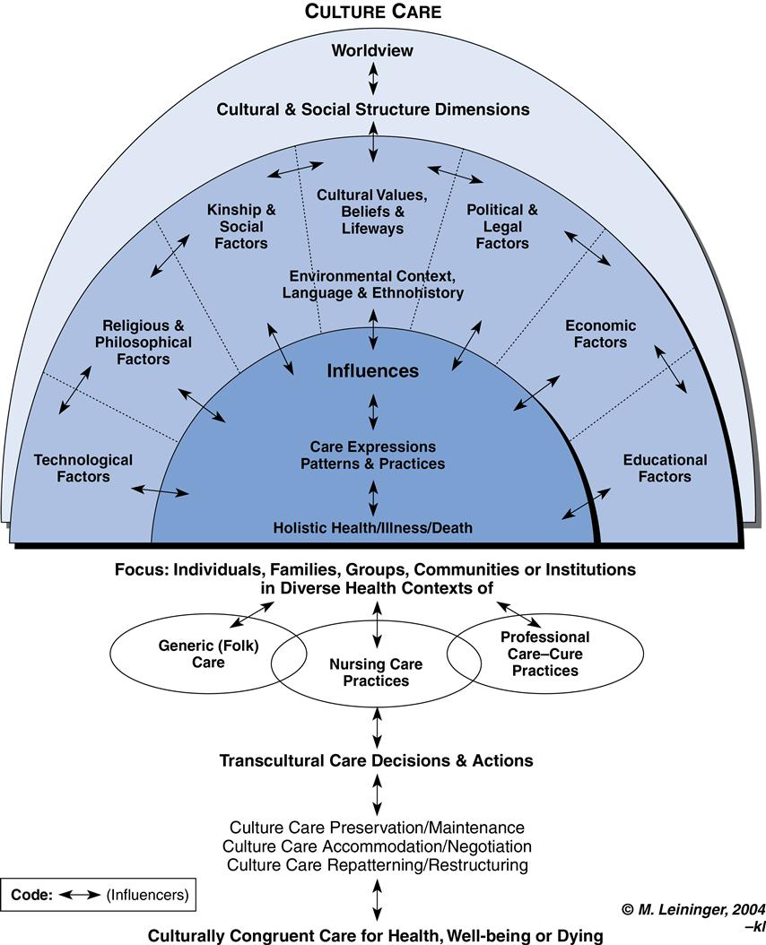 leininger s sunrise model Theoretical influences leininger's theory of culture care diversity  (the  term universality is not used in an absolute way or as a significant statistical  finding)  the sunrise model: a contribution to the teaching of nursing  consultation.